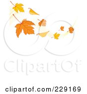 Royalty Free RF Clipart Illustration Of A Breeze With Autumn Leaves Waving Above Vertical White Copyspace