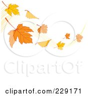 Royalty Free RF Clipart Illustration Of A Breeze With Fall Leaves Waving Above White Copyspace