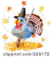 Royalty Free RF Clipart Illustration Of A Cute Pilgrim Thanksgiving Turkey Holding A Shotgun And Standing In Autumn Leaves
