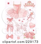 Royalty Free RF Clipart Illustration Of A Digital Collage Of Pink Princess And Ballet Icons On A Patterned Background by Pushkin