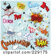 Royalty Free RF Clipart Illustration Of A Digital Collage Of Comic Sounds On Blue Halftone