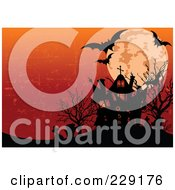 Royalty Free RF Clipart Illustration Of A Silhouetted Haunted House With Graveyard Full Moon And Bats Against A Grungy Orange Sky