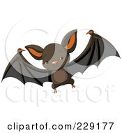 Royalty Free RF Clipart Illustration Of A Cute Baby Vampire Bat