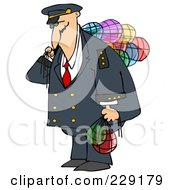 Royalty Free RF Clipart Illustration Of A Ship Captain Carrying Colorful Glass Buoys