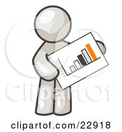 White Man Holding A Bar Graph Displaying An Increase In Profit