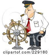 Royalty Free RF Clipart Illustration Of A Ship Captain Standing At The Helm