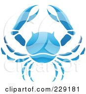 Shiny Blue Cancer Zodiac Logo Icon