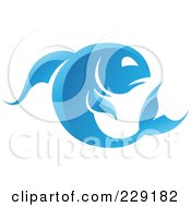 Royalty Free RF Clipart Illustration Of A Shiny Blue Pisces Zodiac Logo Icon by cidepix