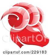 Shiny Red Aries Zodiac Logo Icon