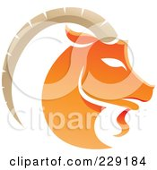 Royalty Free RF Clipart Illustration Of A Shiny Orange Capricorn Zodiac Logo Icon by cidepix
