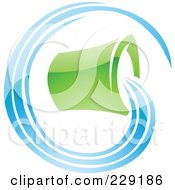Royalty Free RF Clipart Illustration Of A Shiny Blue And Green Aquarius Zodiac Logo Icon by cidepix