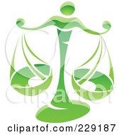 Royalty Free RF Clipart Illustration Of A Shiny Green Libra Zodiac Logo Icon by cidepix #COLLC229187-0145