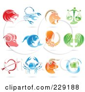 Royalty Free RF Clipart Illustration Of A Digital Collage Of Shiny Astrology Zodiac Logo Icons