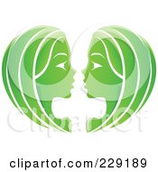 Royalty Free RF Clipart Illustration Of A Shiny Green Gemini Zodiac Logo Icon by cidepix