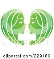 Shiny Green Gemini Zodiac Logo Icon
