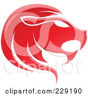 Royalty Free RF Clipart Illustration Of A Shiny Red Leo Zodiac Logo Icon by cidepix