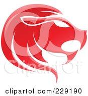 Shiny Red Leo Zodiac Logo Icon