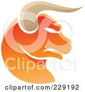 Royalty Free RF Clipart Illustration Of A Shiny Orange Taurus Zodiac Logo Icon by cidepix #COLLC229192-0145