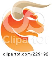 Royalty Free RF Clipart Illustration Of A Shiny Orange Taurus Zodiac Logo Icon by cidepix