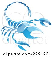 Royalty Free RF Clipart Illustration Of A Shiny Blue Scorpio Zodiac Logo Icon by cidepix