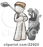 White Man Standing By His Golf Clubs