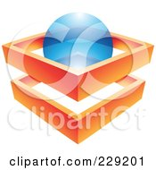 Royalty Free RF Clipart Illustration Of An Abstract Logo Icon Of An Orange Frame And Blue Sphere