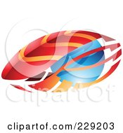 Royalty Free RF Clipart Illustration Of An Abstract Logo Icon Of Red And Orange Leaves Or Feathers And Blue Sphere