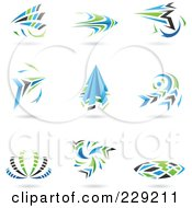 Digital Collage Of Blue Green Gray And Black Dynamic Logo Icons