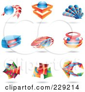 Royalty Free RF Clipart Illustration Of A Digital Collage Of Colorful Abstract Logo Icons