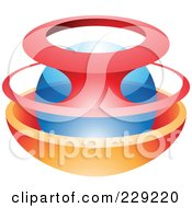 Royalty Free RF Clipart Illustration Of An Abstract Logo Icon Of A Blue Sphere Guarded By Red And Orange Frames