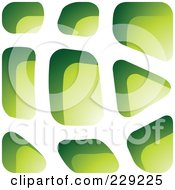 Royalty Free RF Clipart Illustration Of A Green Stone Like Paper Cut Out Logo Icon 7