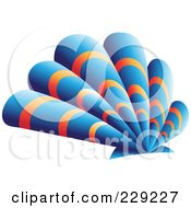 Royalty Free RF Clipart Illustration Of An Abstract Logo Icon Of A Blue And Orange Scallop Shell