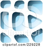 Royalty Free RF Clipart Illustration Of A Blue Stone Like Paper Cut Out Logo Icon 2