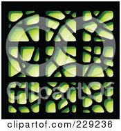 Digital Collage Of Green Stone-Like Paper Cut Out Logo Icons