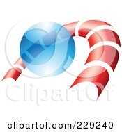 Royalty Free RF Clipart Illustration Of An Abstract Logo Icon Of A Red Curve And Blue Sphere