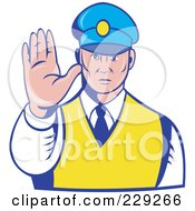 Royalty Free RF Clipart Illustration Of A Retro Officer Holding His Hand Out