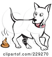 Royalty Free RF Clipart Illustration Of A White Dog Walking Away From Poop