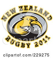 Royalty Free RF Clipart Illustration Of A New Zealand Rugby Kiwi Bird 4 by patrimonio
