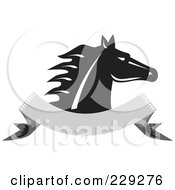 Royalty Free RF Clipart Illustration Of A Black And White Horse Head Over A Blank Banner