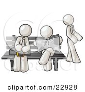 Clipart Illustration Of White Men At A Bench At A Bus Stop