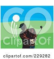 Royalty Free RF Clipart Illustration Of A Retro Golfer Man Swinging