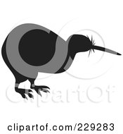 Royalty Free RF Clipart Illustration Of A Black Kiwi Bird Silhouette by patrimonio