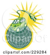 Royalty Free RF Clipart Illustration Of A Retro Styled Electric Car On A Globe