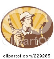 Royalty Free RF Clipart Illustration Of A Retro Man Holding A Fuel Nozzle Logo