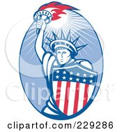 Royalty Free RF Clipart Illustration Of A Retro Statue Of Liberty And American Shield Logo by patrimonio
