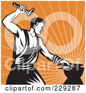 Royalty Free RF Clipart Illustration Of A Retro Styled Blacksmith Working Over Orange Rays