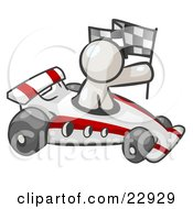 Clipart Illustration Of A White Man Driving A Fast Race Car Past Flags While Racing