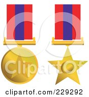 Royalty Free RF Clipart Illustration Of A Digital Collage Of Two Gold Star Award Medals