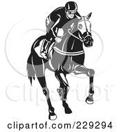 Royalty Free RF Clipart Illustration Of A Black And White Jockey On A Horse