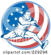 Royalty Free RF Clipart Illustration Of A Male American Athlete Running Over A Flag Circle